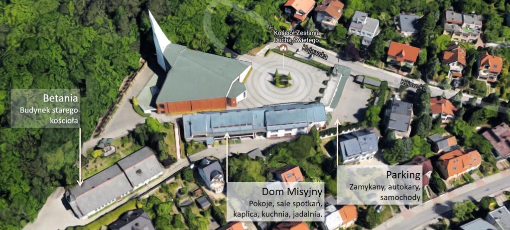 Parafia Zesłania Ducha Świętegoi Dom Misyjny widok zlotu ptaka