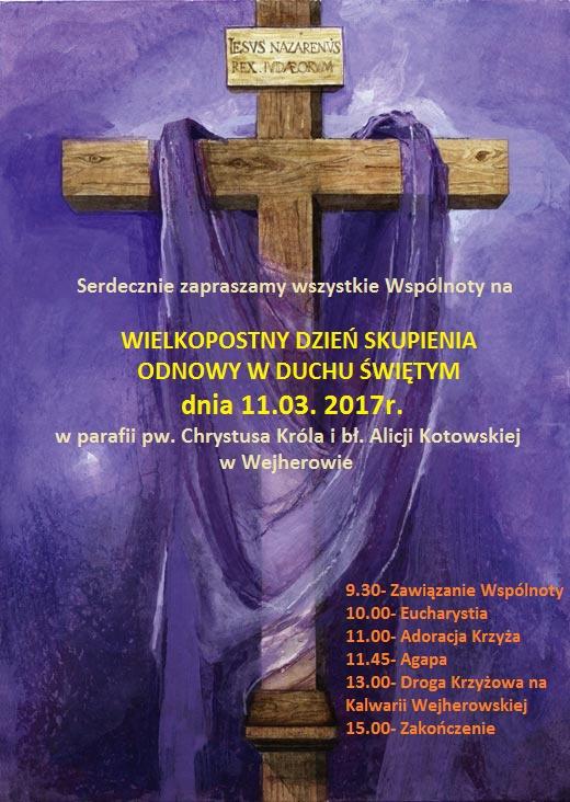 Plakat - zaproszenie naDzień Skupienia Odnowy wDuchu Św.