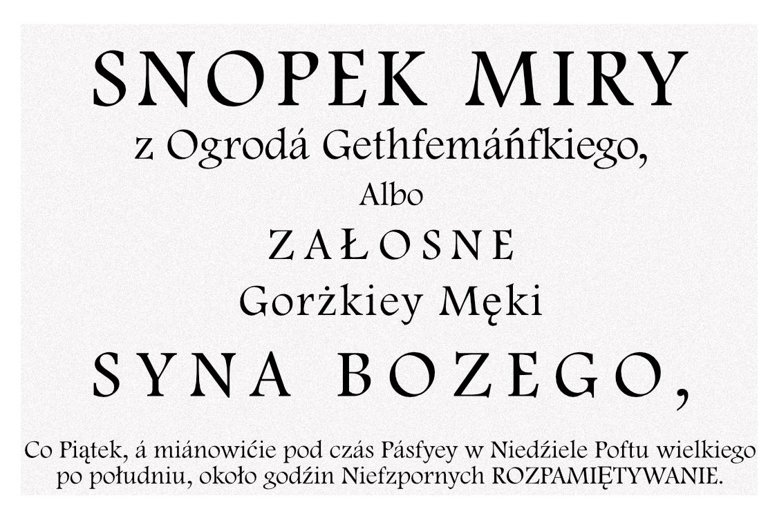 Gorzkie Żale - tytuł oryginalnego wydania z1707r.