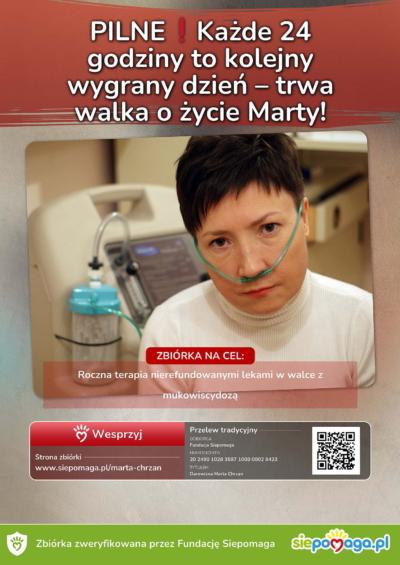 Plakat - pomoc dla Marty chorującej namukowiscydozę